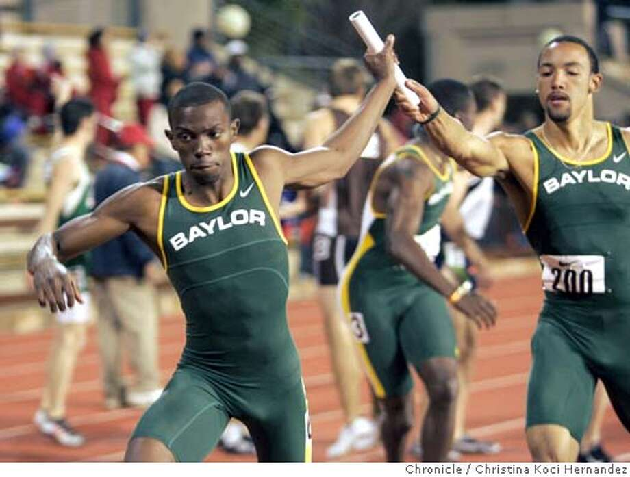 CHRISTINA KOCI HERNANDEZ/CHRONICLE  men's 4X400 meter relay, Baylor's Kevin Mutai hands baton to Quentin Summers. Baylor winsStanford Invitational Track and Field Meet ... Possible focus of story will be the Baylor University men's 400 meter runners. The men's 400 is at 3:40 pm, and then the men's 4X400 meter relay is agt 6:30 pm. Also, there's a good chance layout guy will be wanting pix from other events not necessarily covered by writer. Some of the events include Men's and women's triple jump at 3:30 and 3:45 pm, the men's and women's 100 meters at 3:55 and 4 pm; plus lots of other events. To see complete schedule, go here: http://graphics.fansonly.com/photos/schools/stan/sports/c-track/auto_pdf/stan-invite-sat-sched06.pdf Note: Also, there will be a sidebar on high school events, so if good stuff happens, make pictures, please. Photo: CHRISTINA KOCI HERNANDEZ
