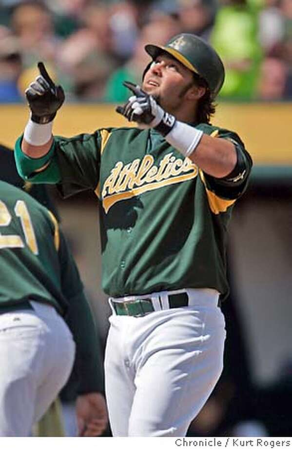 Nick Swisher after his home run 1st inning.  The Oakland Athletics vs The San Francisco Giants. Kurt Rogers Oakland SFC  The Chronicle ATHLETICS_00058_kr.JPG MANDATORY CREDIT FOR PHOTOG AND SF CHRONICLE/ -MAGS OUT Photo: Kurt Rogers