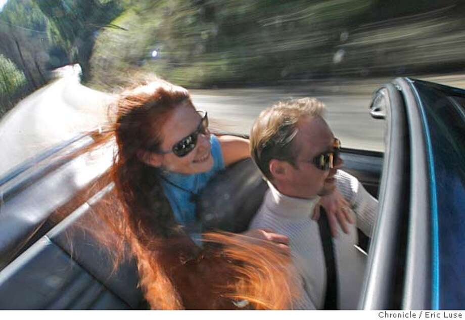 motorxxmyridetanner_324_el.JPG James Tanner,III, driving through the hills of Los Gatos with his wife Star Seward their 1995 Ford Mustang GT convertible.  Photographer:  Eric Luse / The Chronicle MANDATORY CREDIT FOR PHOTOG AND SF CHRONICLE/ -MAGS OUT Photo: Eric Luse