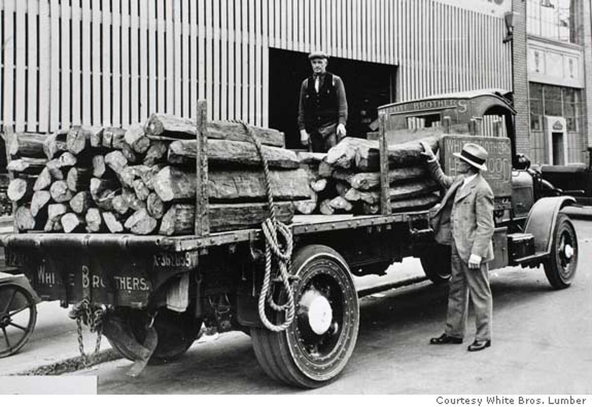 century02_0018_el.JPG Load of Ebony lumber from the early 1900's on a truck with solid rubber tires, no pneumatics and no shocks in those days. White Brothers Lumber historical photos Eric Luse The Chronicle MANDATORY CREDIT FOR PHOTOG AND SF CHRONICLE/ -MAGS OUT
