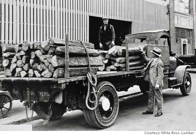 century02_0018_el.JPG Load of Ebony lumber from the early 1900's on a truck with solid rubber tires, no pneumatics and no shocks in those days.  White Brothers Lumber historical photos Eric Luse The Chronicle MANDATORY CREDIT FOR PHOTOG AND SF CHRONICLE/ -MAGS OUT Photo: Eric Luse