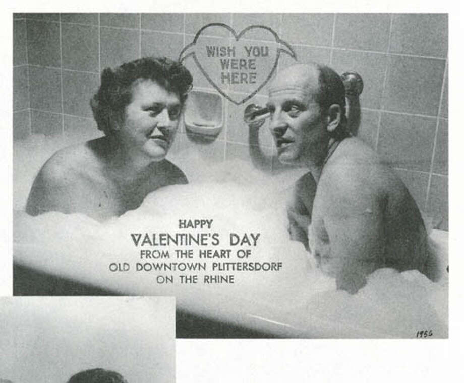 """Julia and Paul Child's 1956 Valentine card. She writes that they sent Valentine cards (like the one on the book's cover) because they couldn't get organized in time to send Christmas cards. Photo from """"My Life in France''"""