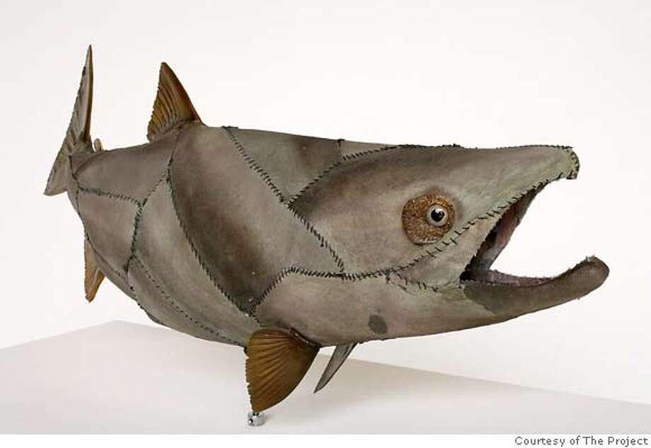 Glenn Kaino: Graft (salmon), 2006; shark skin, thread, salmon skin, plastic; 36 x 12 x 4 in.; collection of the artist; photograph SJK, courtesy of The Project, New York. Photo: Ho