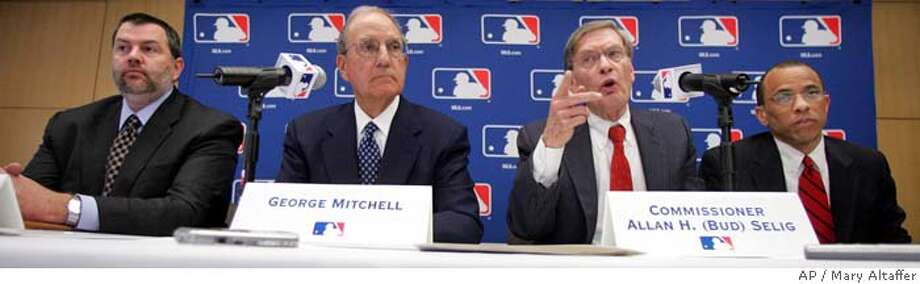 "Former Senate Majority Leader George Mitchell, second from left, is joined by Major League Baseball Commissioner Bud Selig, second from right, attorney Jeffrey G. Collins, right and attorney Thomas F. Carlucci during a news conference in New York, Thursday, March 30, 2006. Selig announced that Mitchell will be leading an investigation into the alleged steroid use by Barry Bonds and other MLB players. ""Nothing is more important to me than the integrity of the game of baseball,"" commissioner Bud Selig said Thursday. (AP Photo/Mary Altaffer) ** EFE OUT ** Photo: MARY ALTAFFER"