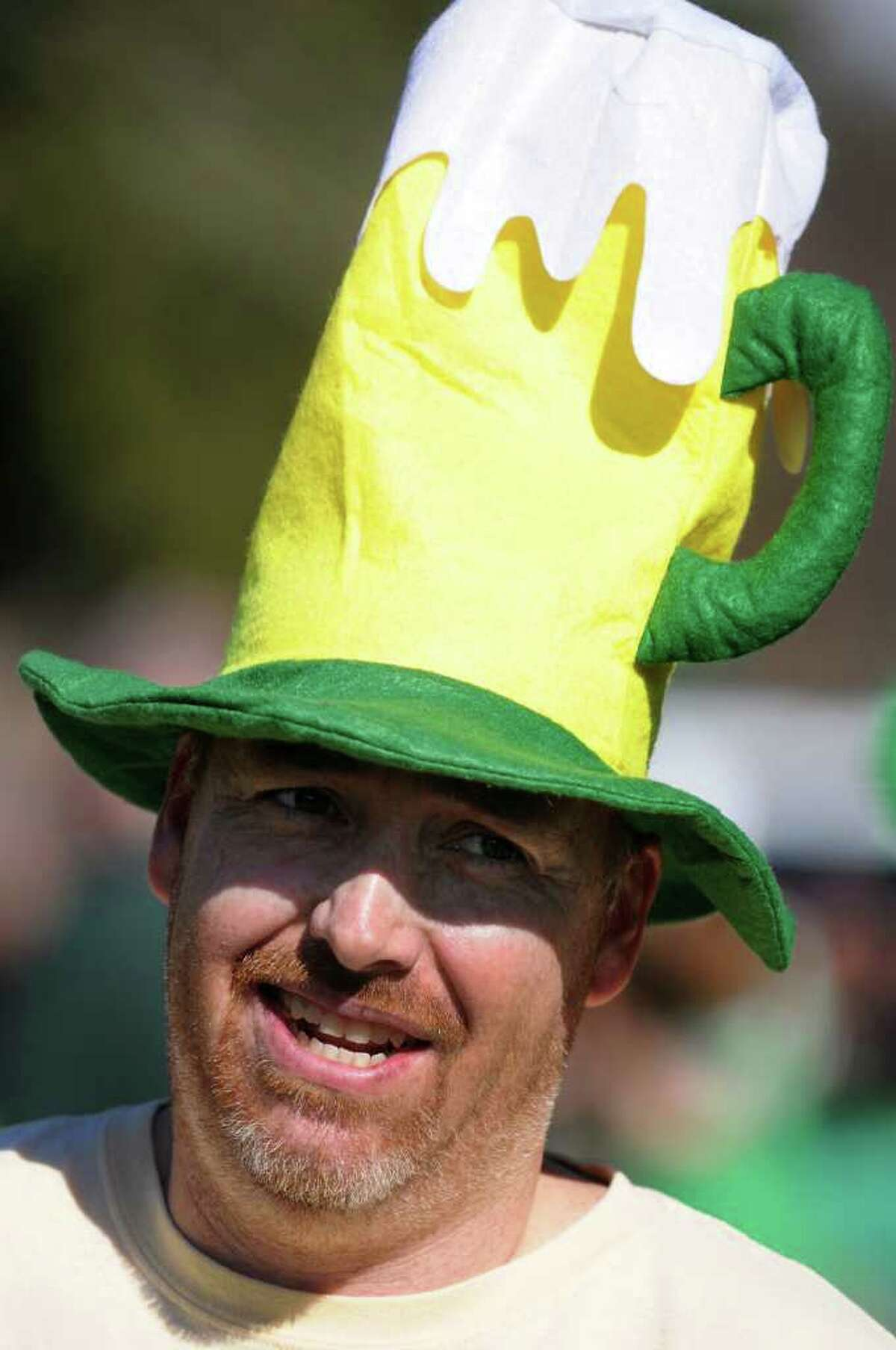 Peter Keating of Halfmoon wears a festive hat as he gets ready to run a 4K during the 1st Annual St. Patrick's Day Kilt Run on Saturday, March 17, 2012, in Averill Park, N.Y. (Cindy Schultz / Times Union)