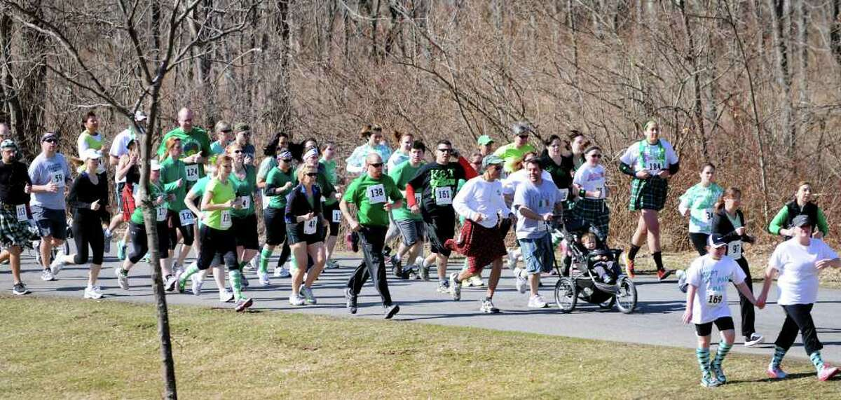 Running enthusiasts turn out for the 1st Annual St. Patrick's Day Kilt Run on Saturday, March 17, 2012, in Averill Park, N.Y. (Cindy Schultz / Times Union)