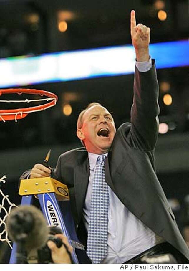 UCLA's coach Ben Howland cheers after snipping a piece of the net after UCLA beat Memphis 50-45 during their NCAA Tournament regional final college basketball game, Saturday, March 25, 2006, in Oakland, Calif. (AP Photo/Paul Sakuma) Photo: PAUL SAKUMA