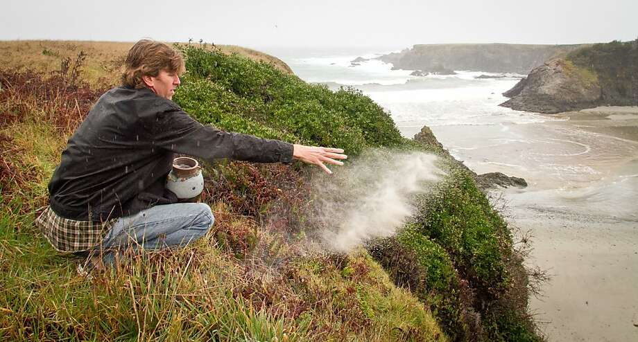 Alden Olmsted scatters the ashes of his father in Jug Handle State Park in Caspar, Calif. on March 16th, 2012. Olmsted is collecting private money to save California State Parks on the closure list. Photo: John Storey, Special To The Chronicle