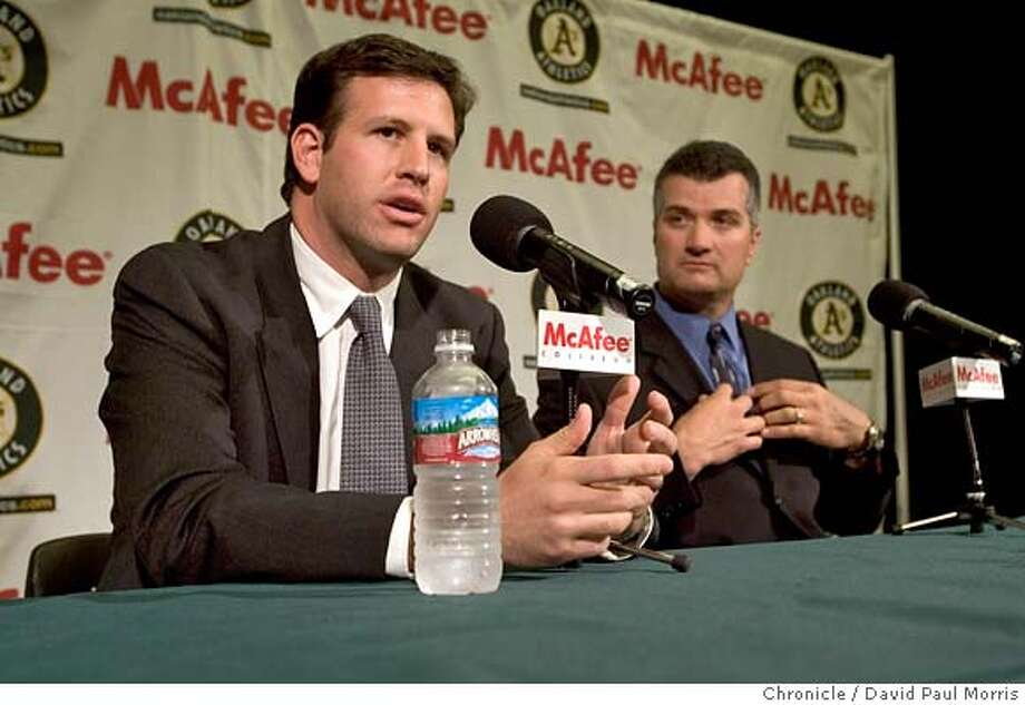 OAKLAND - NOVEMBER 17: Oakland Athletics assistant general manager David Forst, left and new manager Bob Geren greet the media during a news conference announcing Geren as the new manager for the A's 2007 season on November 17, 2006 in Oakland, California. (Photo by David Paul Morris/The Chronicle) Photo: David Paul Morris