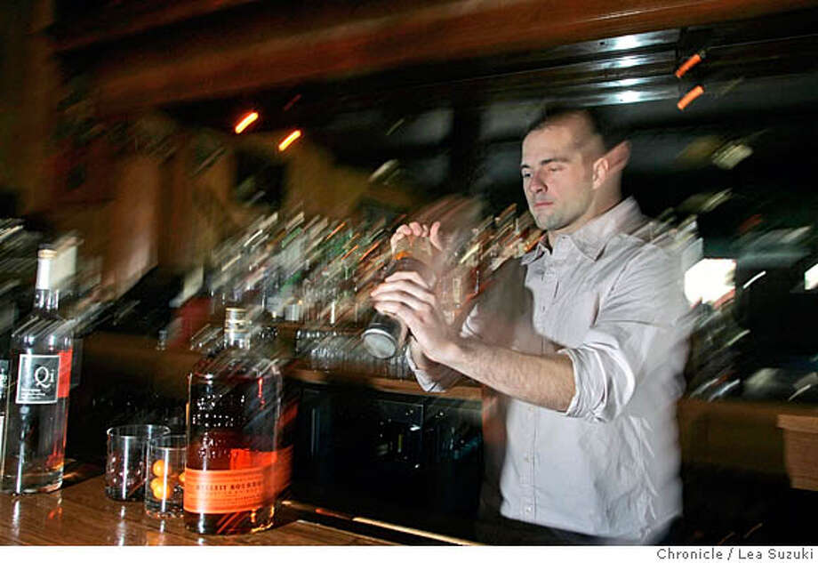spirits30_010_ls.JPG Kieran Walsh mixes up a Mamere at the Solstice Lounge. For the Spirits column of Mar. 30, we need a shot of Kieran Walsh, Bar Manager, Solstice Lounge, San Francisco  Kieran created a cocktail for the column called the Mamere; perhaps he can make it for the shot.  Photo taken on 3/16/06 in San Francisco, CA. Photo by Lea Suzuki/ The San Francisco Chronicle MANDATORY CREDIT FOR PHOTOG AND SF CHRONICLE/ -MAGS OUT. Photo: Lea Suzuki