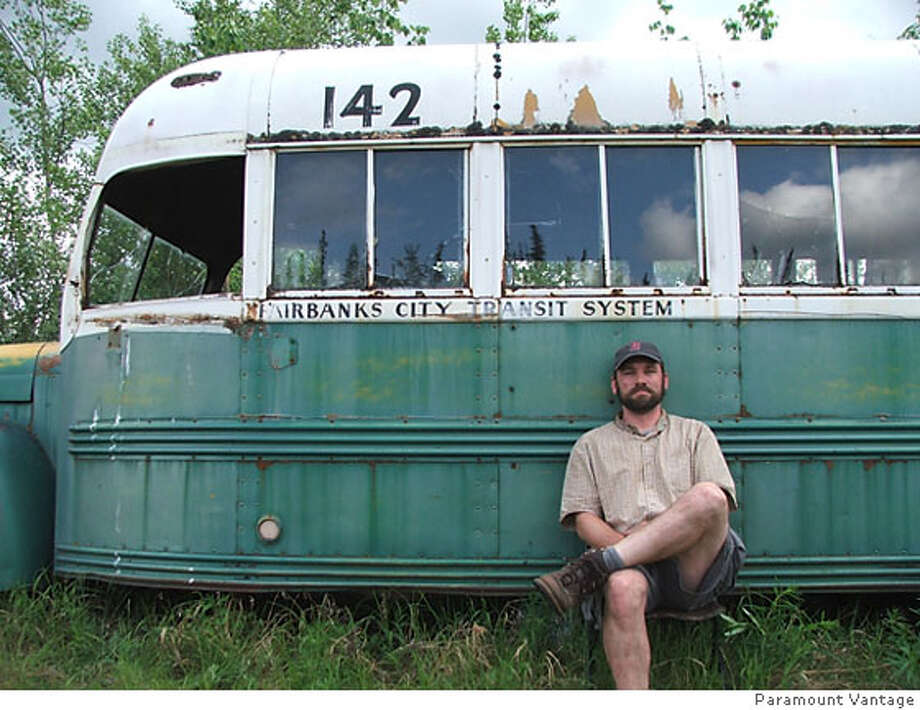 "Filmmaker Ron Lamothe, in front of the bus where Christopher McCandless died, during production of his documentary on McCandless, ""Call of the Wild"". Photo: Ron Lamothe"