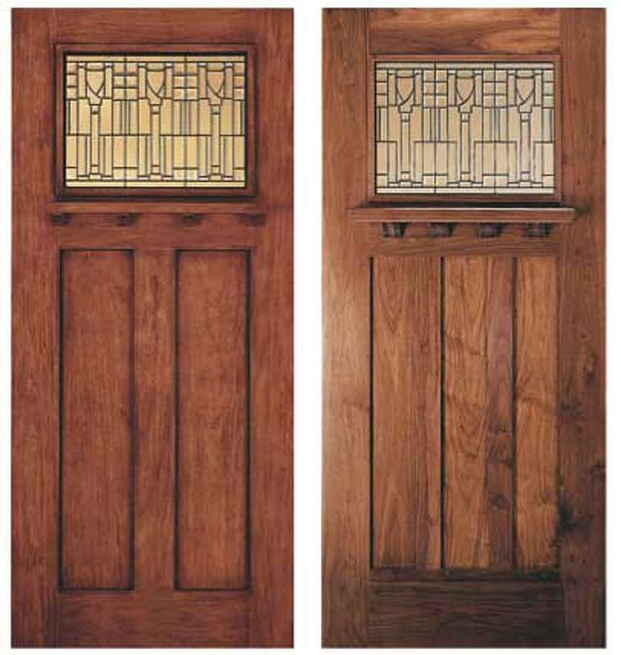 Is it or isn't it? Jeld-Wen Aurora Custom Fiberglass door, left, looks like the real thing, right, and requires no maintenance.