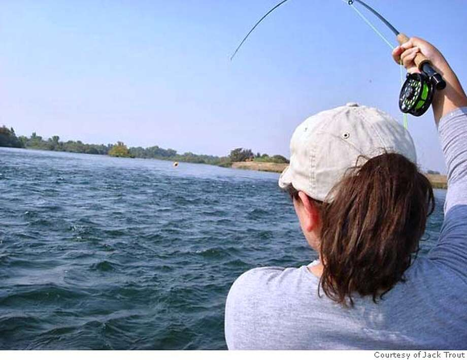 Veronica Carloni, fishing on the Sacramento River downstream from Redding. CR: Jack Trout Photo: Afdadf