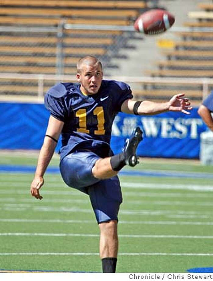 CAL_FOOTBALL_0007_cs.jpg Event on 8/16/07 in Oakland  Andrew Larson (cq)(punter, #11) joins fellow Cal Berkeley football team members as they practice at Memorial Stadium on the Cal Berkeley campus. Photographed August 16, 2007. Chris Stewart / The Chronicle Call football, Andrew Larson  Ran on: 08-17-2007  Kyle Reed (#8) takes his throws at Thursday's practice, and should find out if he won the backup quarterback job by next week.  Ran on: 08-17-2007  Kyle Reed (left) takes his throws at Thursday's practice, and should find out if he won the backup quarterback job by next week. MANDATORY CREDIT FOR PHOTOG AND SF CHRONICLE/NO SALES-MAGS OUT Photo: Chris Stewart