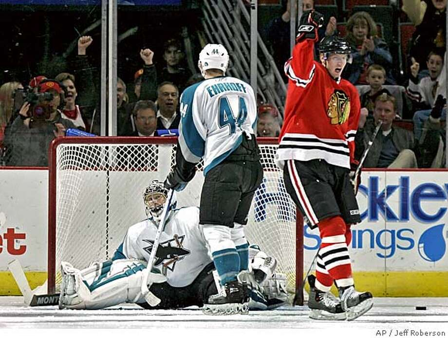 Chicago Blackhawks' Michael Holmqvist, right, of Sweden, celebrates after scoring past San Jose Sharks' Vesa Toskala, left, of Finland, and Christian Ehrhoff, center, of Germany, during the first period of an NHL hockey game Sunday, March 26, 2006, in Chicago. (AP Photo/Jeff Roberson) Photo: JEFF ROBERSON