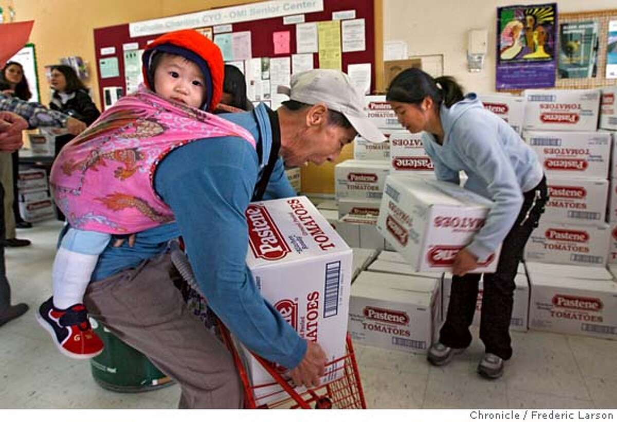 {object name} Sandra Chow (right) helps Tiancai Ma (and along us his grandson Mu (cq) (age 1) receive a box of food from the OMI Senior Center on Ocean Ave., SF. A federal food program for senior citizens is undergoing cutbacks with the possibility of outright elimination under President Bush;s proposed budget. In SF 10,500 seniors monthly receive the food boxes worth about $50 - under the cutback, about 1000 seniors will no longer be able to get their boxes. 3/27/06 Frederic Larson