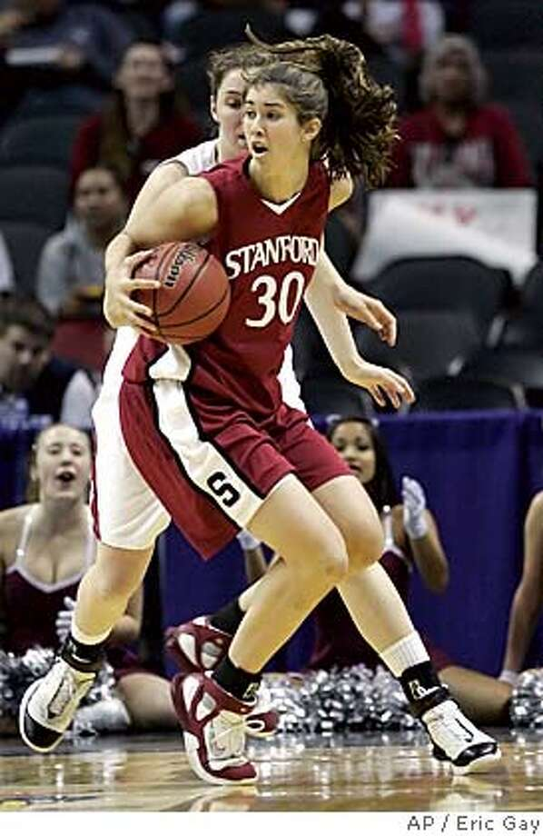 Stanford center Brooke Smith (30) works the ball against Oklahoma in the NCAA Women's Regional semifinal basketball game in San Antonio, Saturday, March 25, 2006. Smith scored 35 points in the 88-74 win over Oklahoma to advance to the regional final on Monday against LSU. (AP Photo/Eric Gay) Photo: ERIC GAY