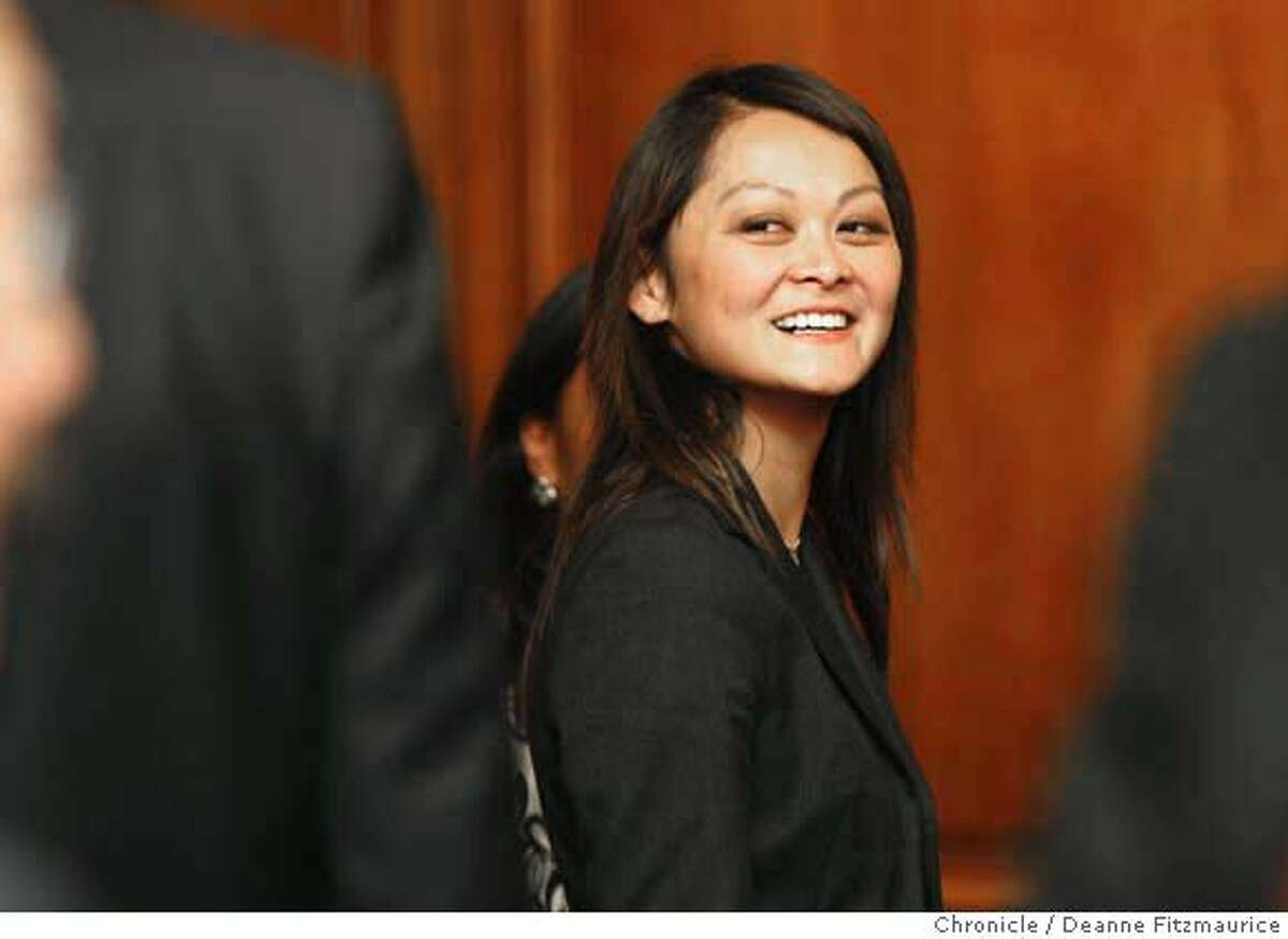 edjew_newsom_124_df.jpg San Francisco mayor Gavin Newsom names Carmen Chu as a temporary replacement on the Board of Supervisors since the announcement this morning that Supervisor has been suspended. Photographed in San Francisco on 9/25/07. Deanne Fitzmaurice / The Chronicle Mandatory credit for photographer and San Francisco Chronicle. No Sales/Magazines out.
