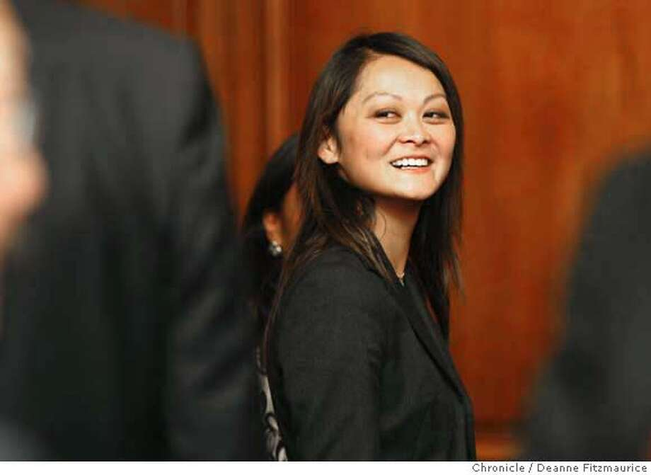 edjew_newsom_124_df.jpg  San Francisco mayor Gavin Newsom names Carmen Chu as a temporary replacement on the Board of Supervisors since the announcement this morning that Supervisor has been suspended. Photographed in San Francisco on 9/25/07. Deanne Fitzmaurice / The Chronicle Mandatory credit for photographer and San Francisco Chronicle. No Sales/Magazines out. Photo: Deanne Fitzmaurice