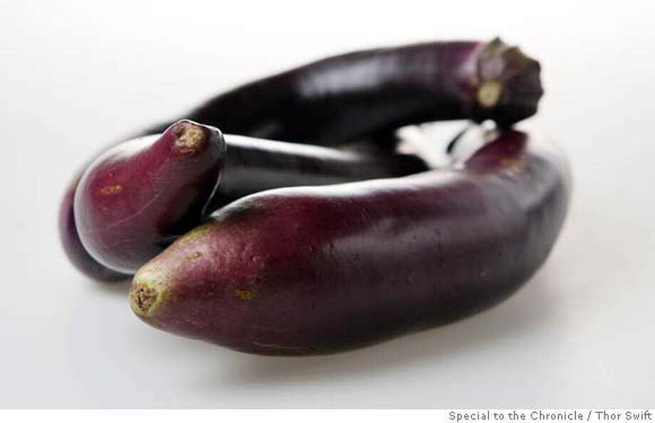 Japanese eggplants photographed Thursday, Sept., 20, 2007 at the San Francisco Chronicle Studio. Thor Swift For The San Francisco Chronicle Photo: Thor Swift