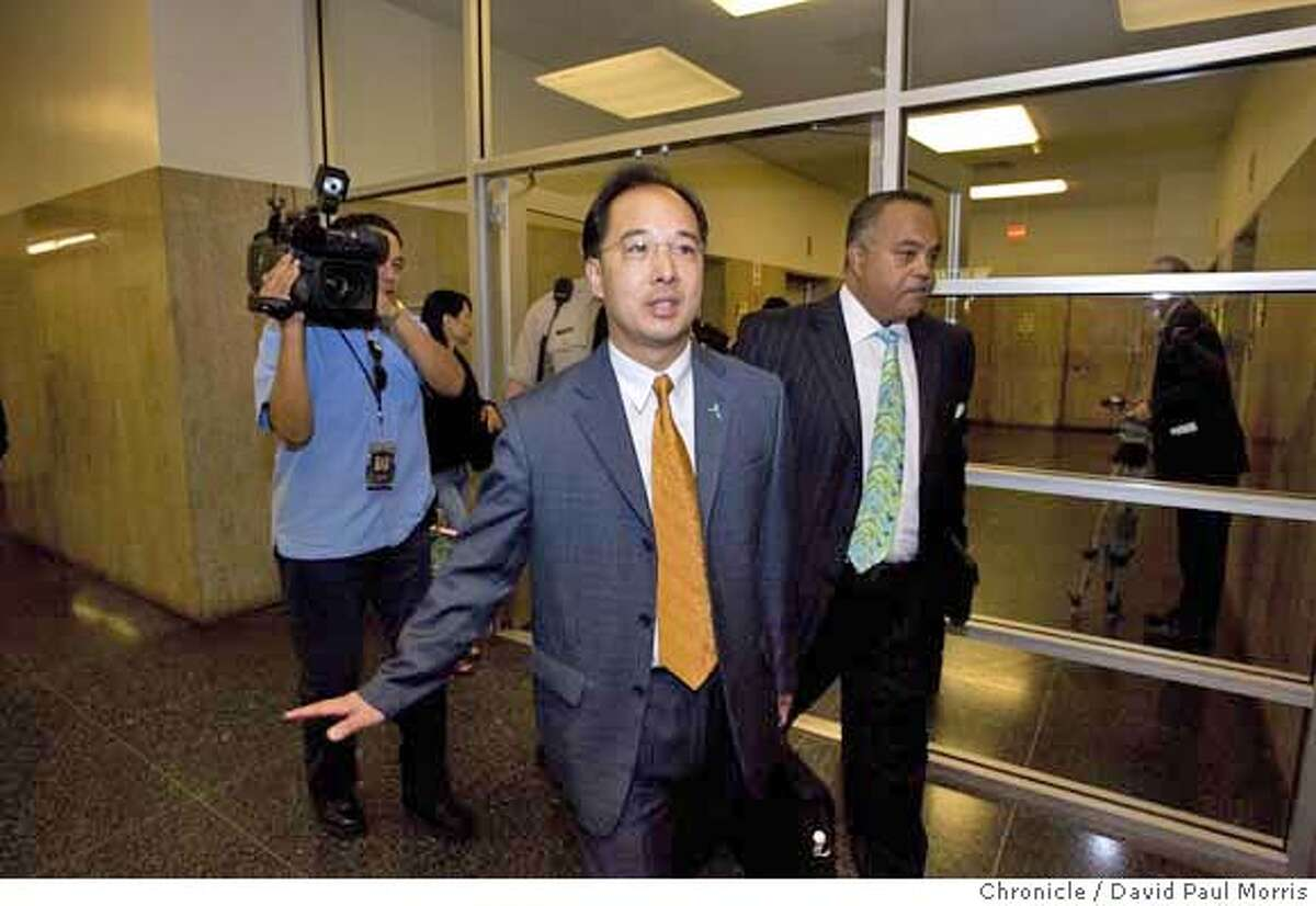 SAN FRANCISCO, CA - JULY 27: San Francisco Supervisor Ed Jew arrives to court at the Hall of Justice on July 27, 2007 San Francisco, California. Supervisor Jew was in court to mount a defense against felony charges of lying about his residency. He was also hoping to push for an early trial to end the case as quickly as possible (Photo by David Paul Morris / The Chronicle) Ran on: 07-28-2007 S.F. Supervisor Ed Jew (center) arrives at court for a hearing to decide whether he will stand trial. Ran on: 07-28-2007 S.F. Supervisor Ed Jew (center) arrives at court for a hearing to decide whether he will stand trial. Ran on: 09-11-2007 Supervisor Ed Jew might avoid a trial on charges of lying about where he lives if a plea deal is reached.