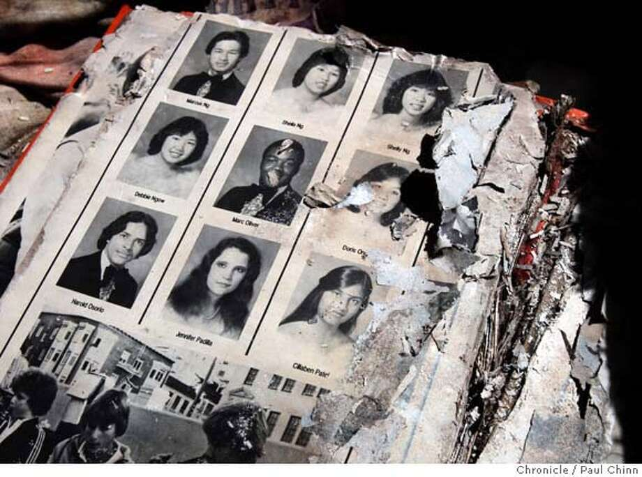 A soggy and tattered yearbook was found inside a time capsule planted by the Class of 1982 that was opened by former students and faculty at Galileo High School in San Francisco, Calif. on Tuesday, Sept. 25, 2007. The long-forgotten capsule was unearthed by construction crews working on campus.  PAUL CHINN/The Chronicle MANDATORY CREDIT FOR PHOTOGRAPHER AND S.F. CHRONICLE/NO SALES - MAGS OUT Photo: PAUL CHINN