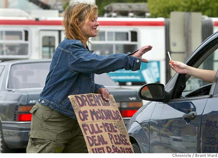 supportive131_ward.jpg Rhonda has always done well at panhandling...her signs asking for money and food are some of the best on the street.  Rhonda Bye had been homeless and panhandling at the Mission Street offramp almost since she arrived in San Francisco from Seattle. In the summer she was recognized by outreach workers and moved onto the General Assistance rolls. After a number of bureaucratic blunders, she finally got a hotel room and onto methadone. Photo: Brant Ward