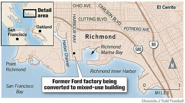 Former Ford factory in Richmond. Chronicle graphic by Todd Trumbull
