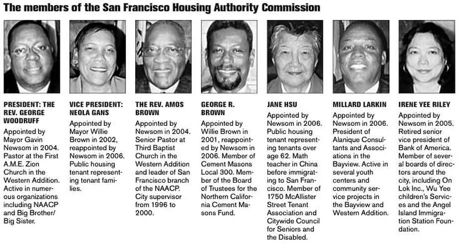 The Members of the San Francisco Housing Authority Commission. Chronicle Graphic
