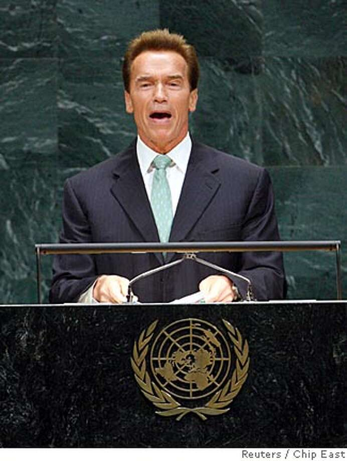 California Governor Arnold Schwarzenegger addresses the United Nations High-level Event on Climate Change at the United Nations General Assembly, in New York, September 24, 2007. REUTERS/Chip East (UNITED STATES) Photo: CHIP EAST