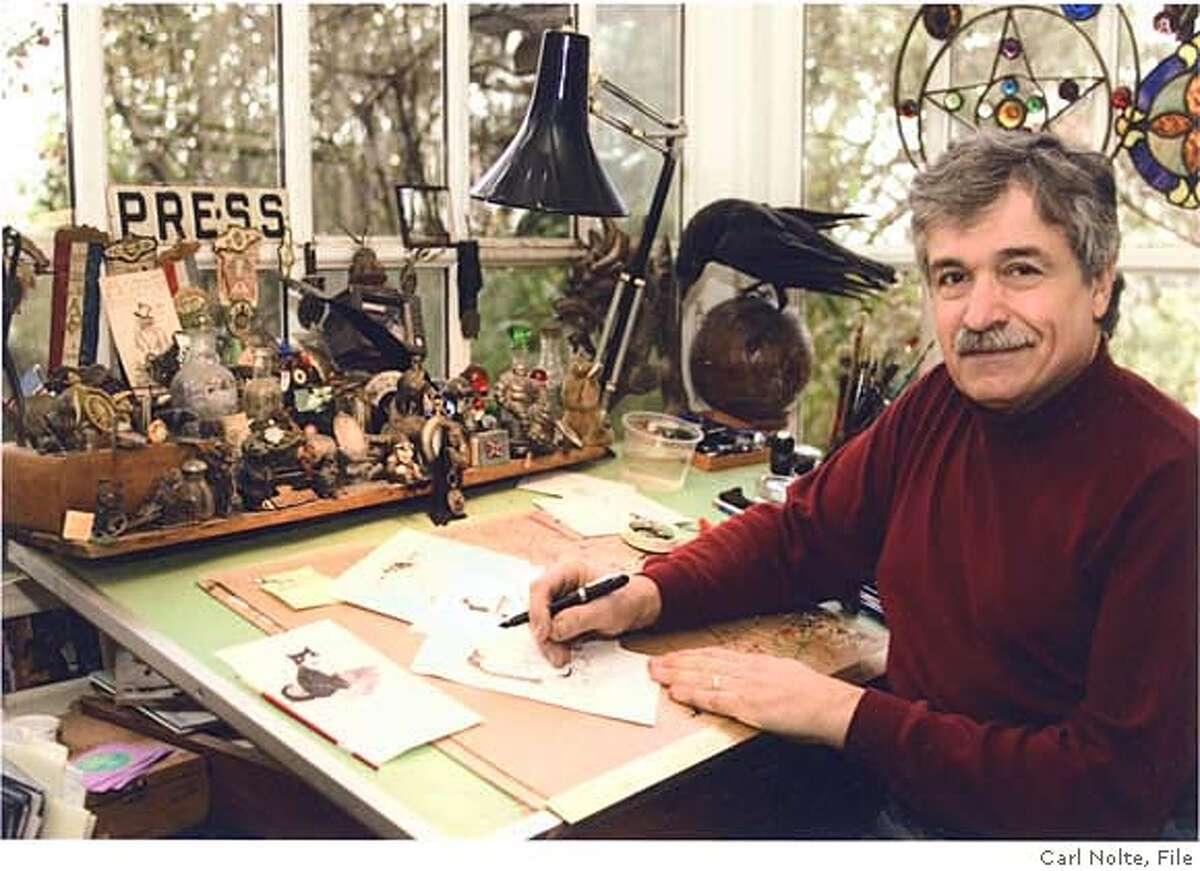 """Phil Frank, creator of the """"Farley"""" comic strip which appeared in the San Francisco Chronicle, at his home studio in Sausalito with Bruce the raven."""