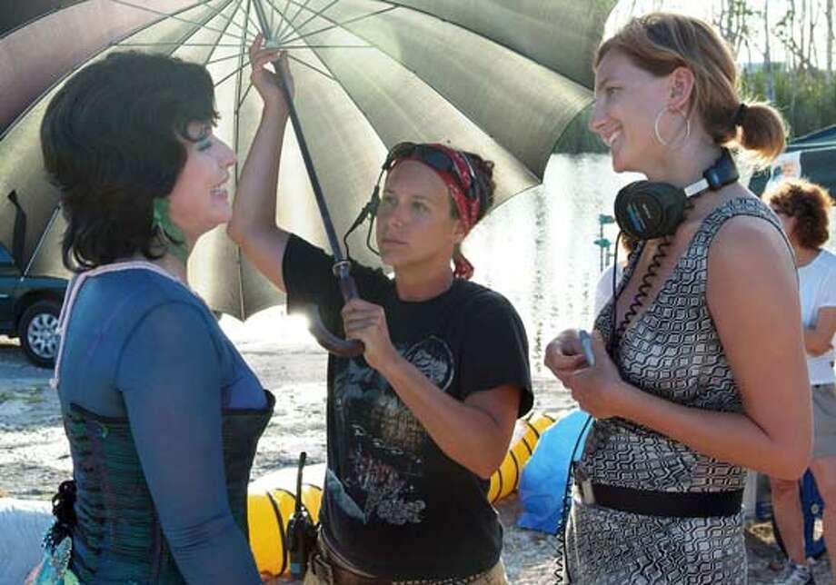 "Taken during the filming of ""Full Grown Men"": from left, actress Deborah Harry, unidentified crew member, writer-producer Xandra Castleton. Photo: Dan Littlejohn"