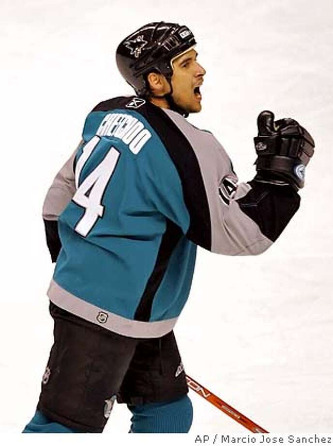 San Jose Sharks' Jonathan Cheechoo celebrates after a first-period goal against the Colorado Avalanche in an NHL hockey game in San Jose, Calif., Sunday, March , 19, 2006. (AP Photo/Marcio Jose Sanchez) EFE OUT Photo: MARCIO JOSE SANCHEZ