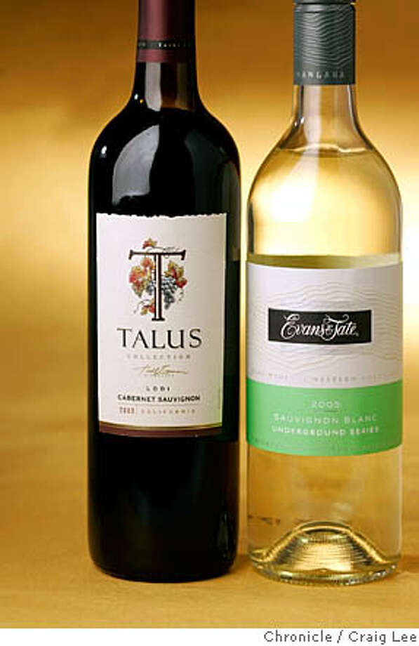 BARGAIN23_078_cl.JPG  Bargain Wines column. Photo of 2003 Talus Lodi Cabernet Sauvignon (left) and 2005 Evans & Tate Sauvignon Blanc (right).  Craig Lee / The Chronicle MANDATORY CREDIT FOR PHOTOG AND SF CHRONICLE/ -MAGS OUT Photo: Craig Lee