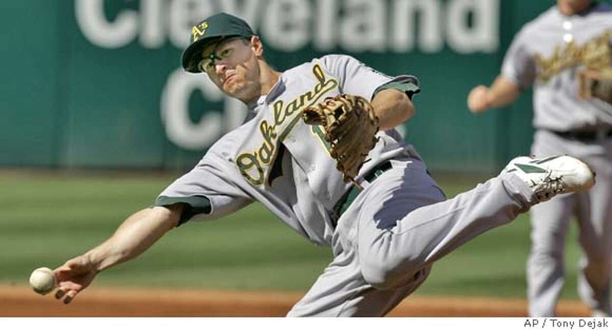 Oakland Athletics' Mark Ellis throws to first base to try and get Cleveland Indians' Grady Sizemore in the first inning after a bunt, in a baseball game, Sunday, Sept. 23, 2007, in Cleveland. Sizemore was safe. (AP Photo/Tony Dejak)
