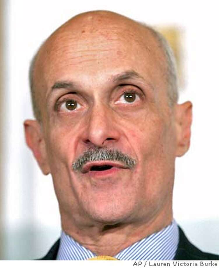 Homeland Security Secretary Michael Chertoff addresses the National Chemical Security Forum on Tuesday, March 21, 2006, in Washington. Chertoff called for government regulation of chemical plant security but said the industry should come up with its own protective measures, to be verified by private auditors. (AP Photo/Lauren Victoria Burke) Photo: LAUREN VICTORIA BURKE