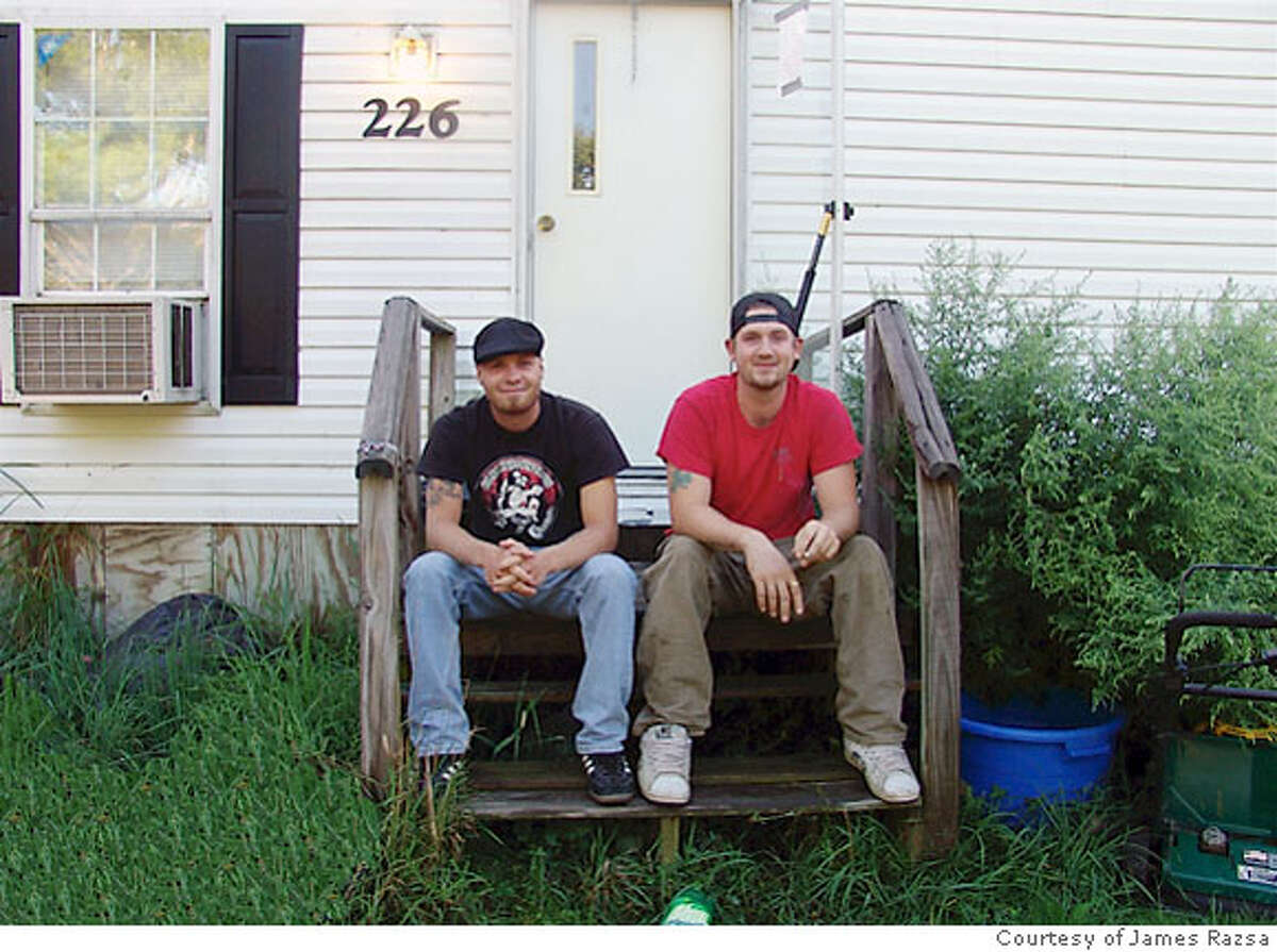 James Razsa, left, with his roommate Colin, at their trailer in New Gloucester, Maine. Photo courtesy of James Razsa.