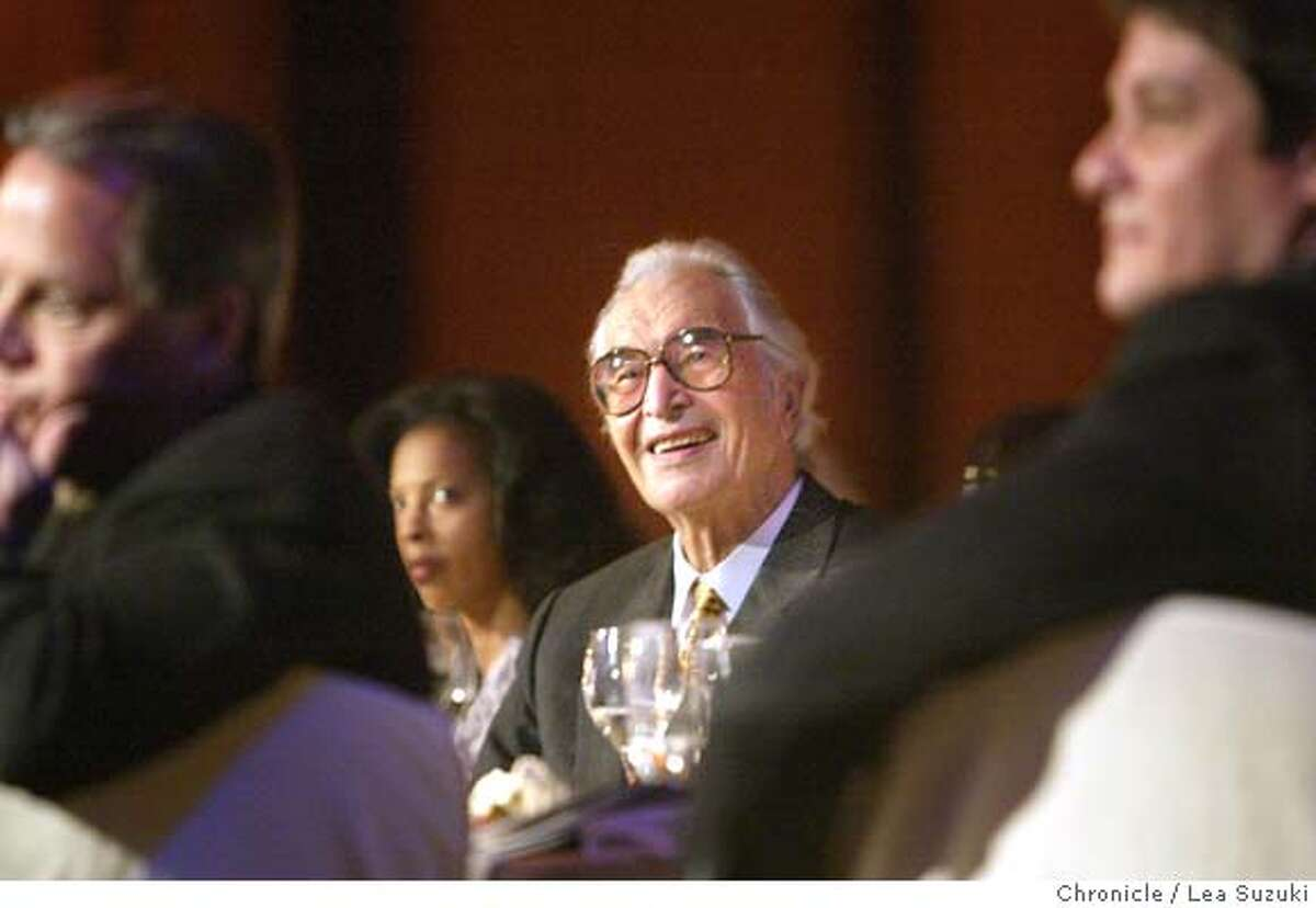 grammy21_047_ls.jpg Dave Brubeck listens to a musical tribute to him after accepting his award at the San Francisco Chapter's 2006 Recording Academy Honors. Music luminaries Dave Brubeck,� George Duke, three-time Grammy winners Green Day and the San Francisco Blues Festival have been named as recipients of the San Francisco Chapter's 2006 Recording Academy Honors.�The gala event, which will attract recording artists, key entertainment executives and community leaders, will be held Sunday, March 19, at 6 p.m. in the Grand Ballroom of the historic Westin St. Francis in San Francisco's Union Square. Photo taken on 3/19/06 in San Francisco, CA. Photo by Lea Suzuki/ The San Francisco Chronicle MANDATORY CREDIT FOR PHOTOG AND SF CHRONICLE/ -MAGS OUT.