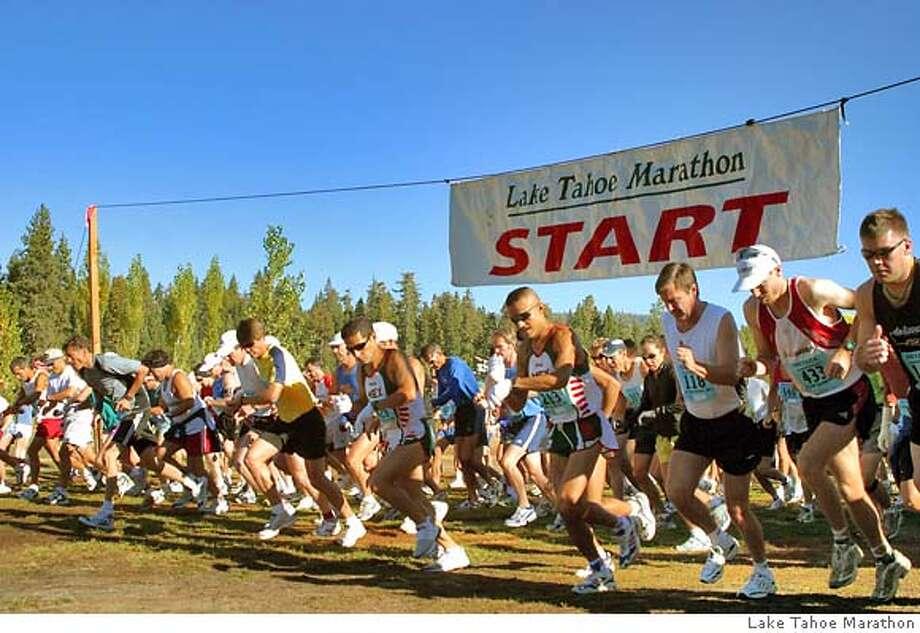 TRAVEL TAHOE -- Slug: Destinations23  Byline/ Credit for both will be Lake Tahoe Marathon. City/state: Lake Tahoe, CA Caption 2: TRAVEL DESTINATIONS TAHOE -- The start line for the Lake Tahoe Marathon is at Commons Beach in Tahoe City. Photo: Lake Tahoe Marathon