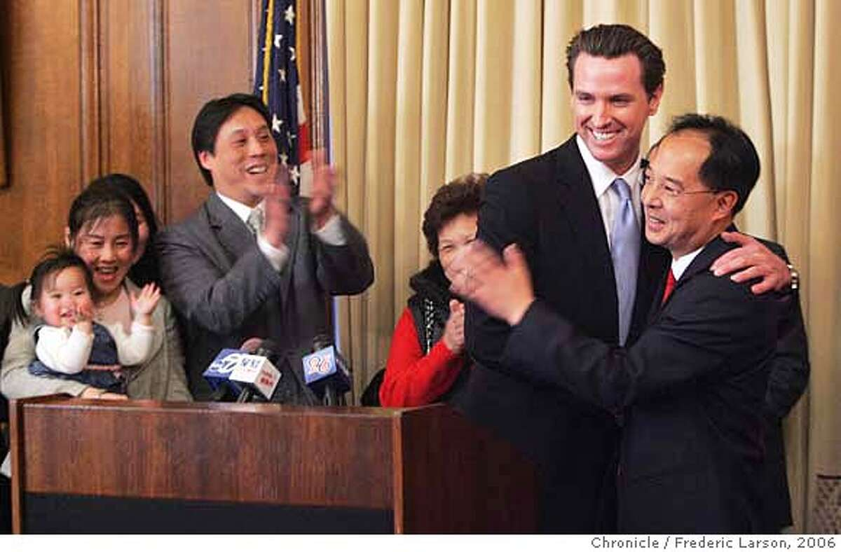 SF's newest supervisor Ed Jew surrounded by his supporters and family during a brief swearing in ceremony by the SF mayor Gevin Newsom at City Hall. Ed plans to bring his populist style of activism to City Hall for the benefit of the city's District 4 residents. 12/5/06 {Photographed by Frederic Larson} MANDATORY CREDIT FOR PHOTOGRAPHER AND SAN FRANCISCO CHRONICLE/NO SALES-MAGS OUT
