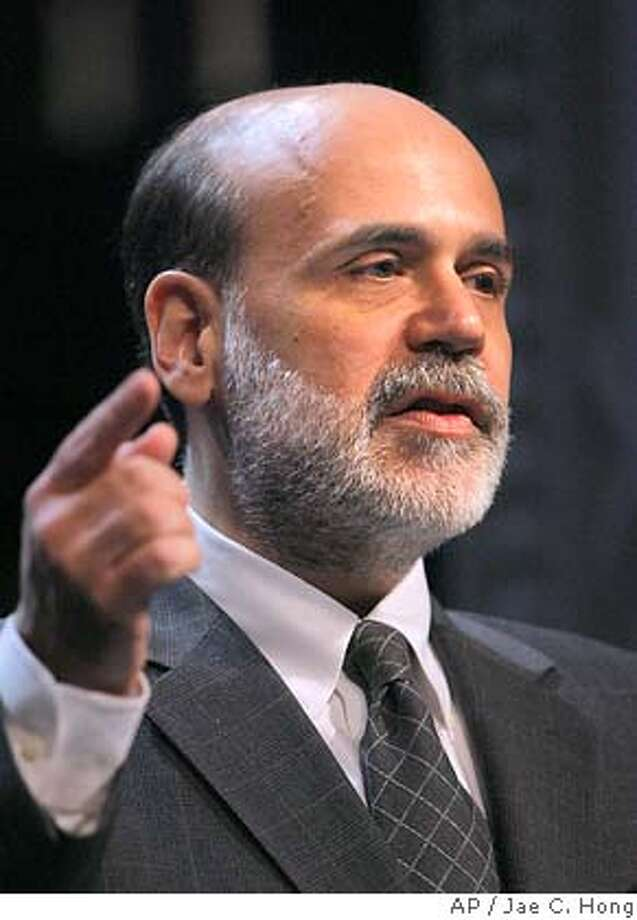 Federal Reserve Board Chairman Ben Bernanke speaks during the Independent Community Bankers of America convention in Las Vegas on Wednesday, March 8, 2006. Bernanke said the growth in commercial real estate loans by community banks bears watching. (AP Photo/Jae C. Hong) Photo: JAE C. HONG