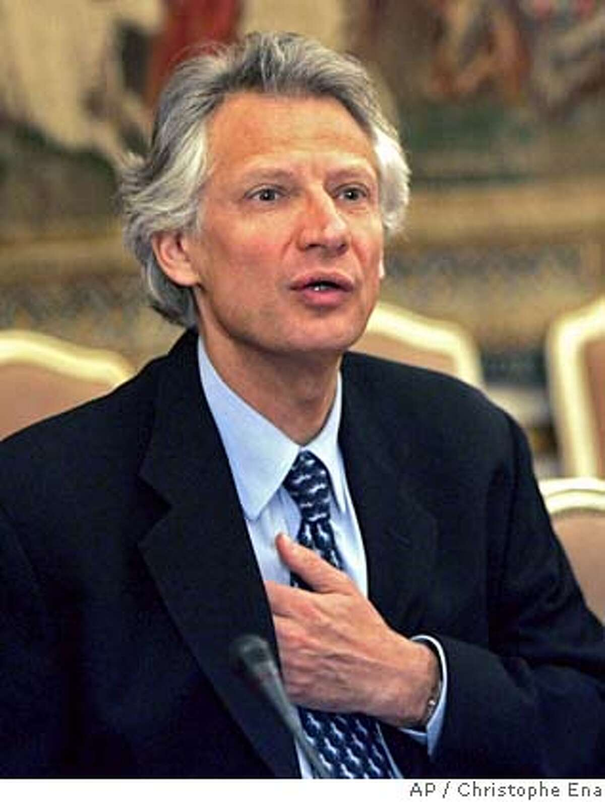 French Prime Minister Dominique De Villepin before a meeting with university presidents in Paris, France, Friday, March 17, 2006. Following violent student protests this week in Paris, Villepin appealed for calm before the students' final exam period. (AP Photo/Christophe Ena)