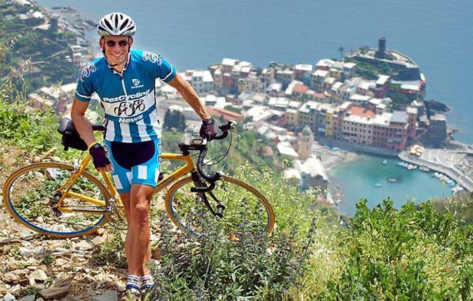 """TRAVEL JUSTBACK -- Bob Cullinan, San Rafael, CA Email: bob@cullinan.to  Daytime phone number: 415-456-6200 Just back from: Cinque Terra, Italy I went because: I went to Italy to watch the Giro d'Italia bicycle race, the Italian version of the Tour de France. Don't miss: The """"insalata mare"""" complete with fresh octopus, at the U'Tian Gastronomica, on Via Visconti, in Vernazza. And the view from the top of the hill, too. Don't bother: Renting a car. It's easier, and much more fun, to take either the train or the footpath between the five cities of the Cinque Terra. Coolest souvenir: A commemorative posted of AC Milan's win over Liverpool in soccer's UEFA Cup final. The poster was inserted into the Gazzetta dello Sport newspaper. Worth a splurge: A seaside meal at one of the umbrella-covered tables in Vernazza or Monterosso. I wish I'd packed: Fewer clothes. This is a very casual area of Italy, and with temperatures in the 80s every day, there's no need for a lot of clothing. Other comments: If you go, take your time. Savor all the sights, sounds and smells of Monterosso, Vernazza, Corniglia, Manorola and Riomaggiore. Details of attached photo (if sent): Just me. 5/22/06 in , . Photo: NA"""