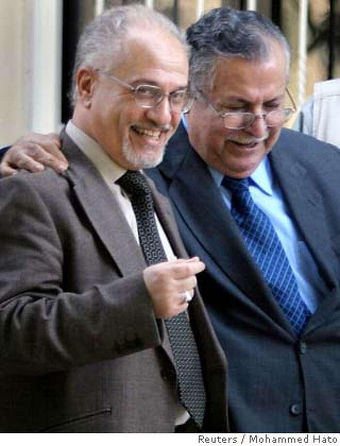 Iraqi president Talabani talks with Shi'ite alliance leader al-Shahristani in Baghdad Photo: POOL