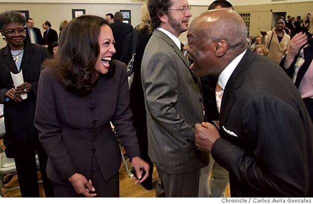 SFSCHOOLS07_034_CG.JPG  Former Mayor, Willie Brown, right, laughs it up with District Attorney, Kamala Harris at the reception before the rededication ceremony for Twenty-First Century Academy. Twenty-First Century Academy, one of the Dream Schools in Bayview-Hunters Point, is re-christened the Willie L. Brown Jr. College Prepatory Academy. The former mayor is there to be honored and meet the kids who are attending his school. Photo by Carlos Avila Gonzalez / The San Francisco Chronicle  Photo taken on 9/27/05, in San Francisco,CA. Photo: Carlos Avila Gonzalez