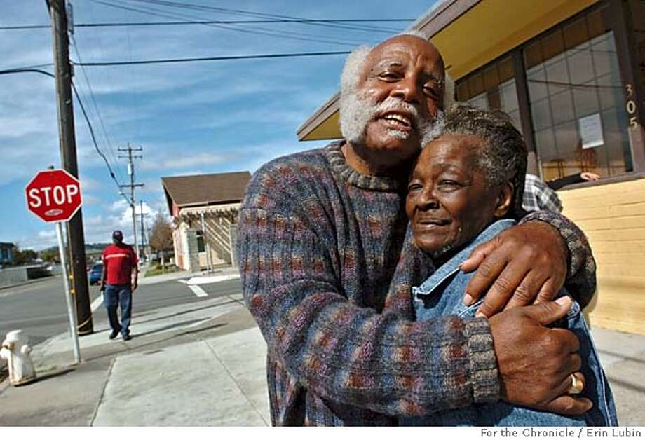 TROJANS19_04_EAL.JPG  Fred Jackson, program coordinator at the Neighborhood House of North Richmond, hugs Dorothy Lightner, a 75 year-old Richmond resident who lost a son to gang violence ten years ago, outside the center Friday morning, March 17, 2006. CQ  Event on 3/17/06 in Richmond.  Erin Lubin / For the Chronicle MANDATORY CREDIT FOR PHOTOG AND SF CHRONICLE/ -MAGS OUT Photo: Erin Lubin