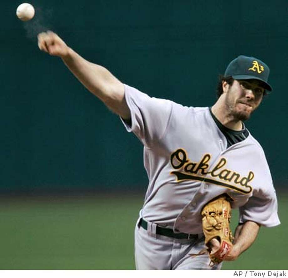Oakland Athletics' Dan Haren pitches to Cleveland Indians' Grady Sizemore in the first inning of a baseball game Saturday, Sept. 22, 2007, in Cleveland. (AP Photo/Tony Dejak) Photo: Tony Dejak