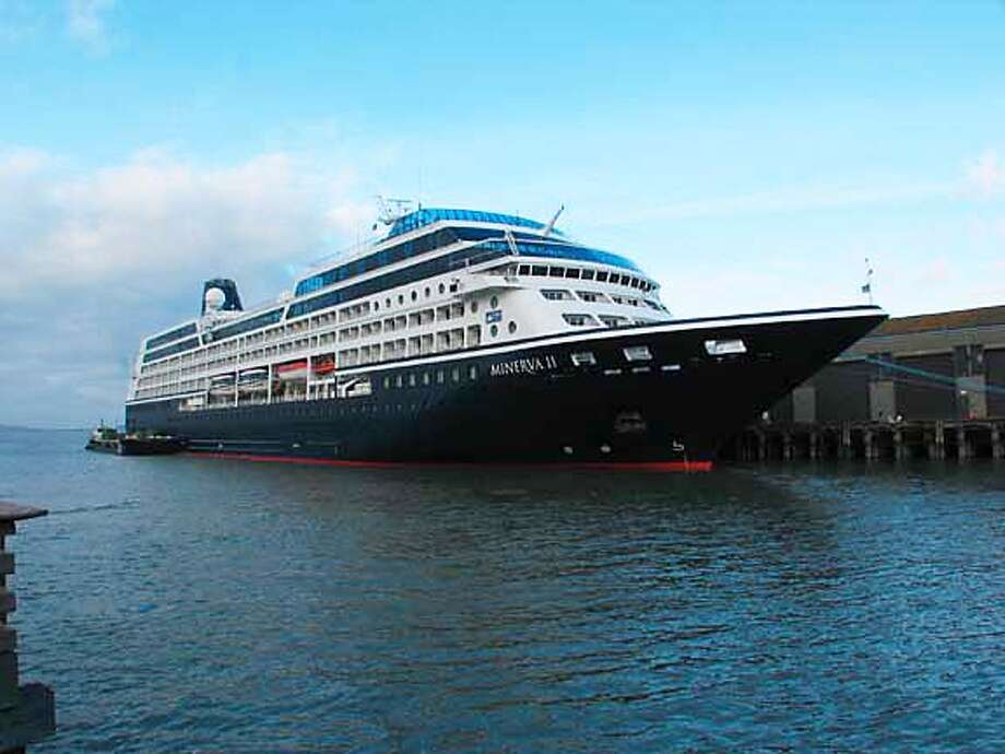 The former Minerva II, seen here at San Francisco's Pier 35, will become the Royal Princess. Chronicle photo by Spud Hilton