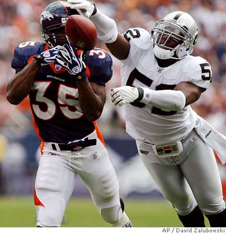 Oakland Raiders linebacker Kirk Morrison, right, reaches out to break up a pass intended for Denver Broncos running back Selvin Young in the first quarter of an NFL football game in Denver on Sunday, Sept. 16, 2007. (AP Photo/David Zalubowski) Photo: David Zalubowski