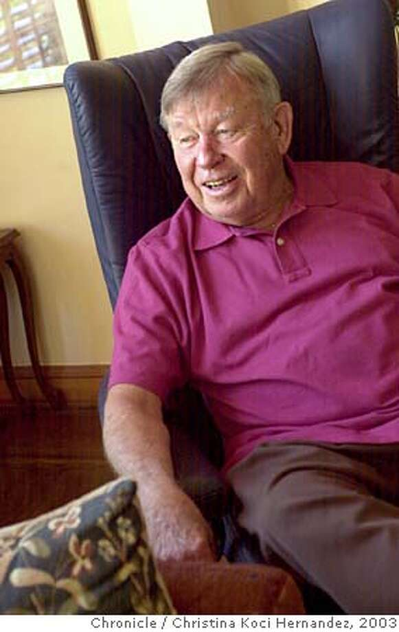 {elwood_100903_ckh}  Photo of Phil Elwood, former examiner jazz critic, at his Berkeley home. Photo taken on {10/09/03}, in {Berkeley}, {CA}. CHRISTINA KOCI HERNANDEZ / The San Francisco Chronicle MANDATORY CREDIT FOR PHOTOG AND SF CHRONICLE/ -MAGS OUT Photo: CHRISTINA KOCI HERNANDEZ